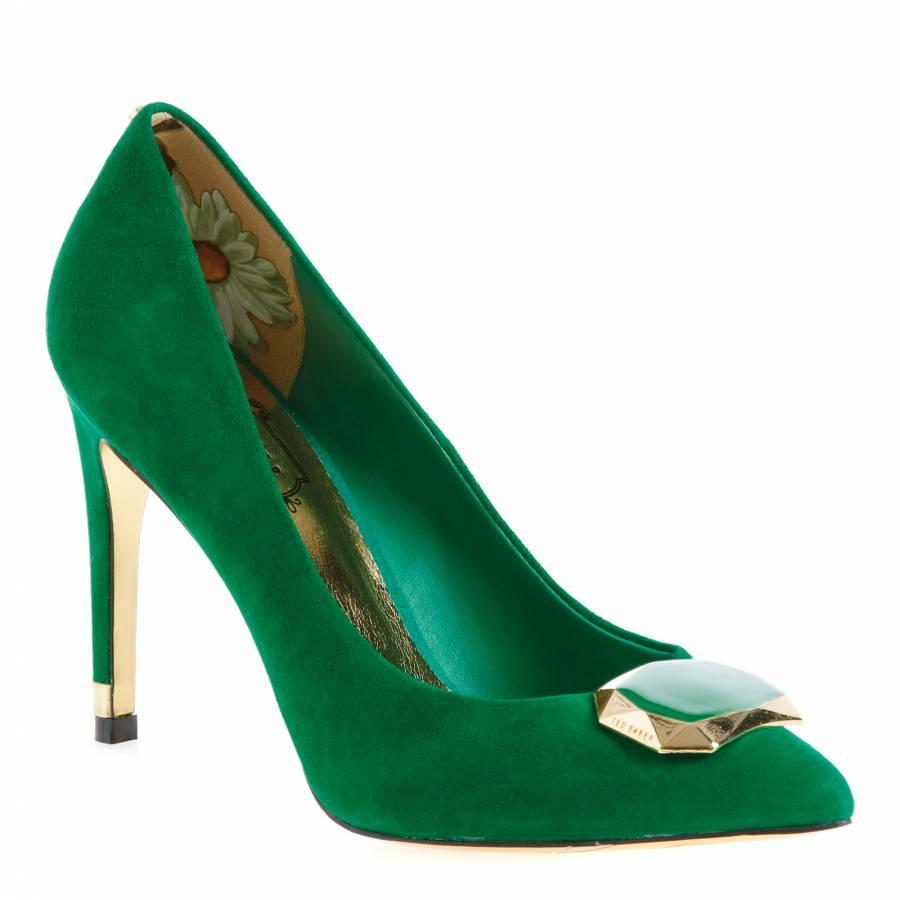 Suede Brooch Court Shoes 10.5cm Heel