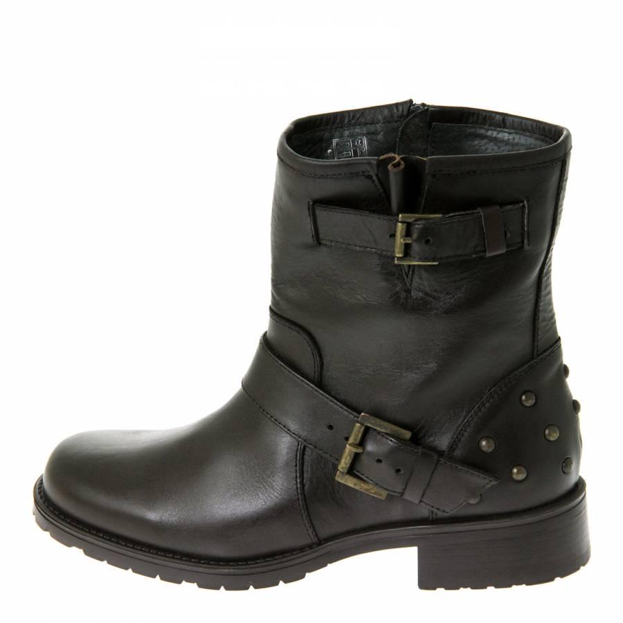 1037f70c94bb Dark Brown Leather Stud Back Ankle Boots 3cm Heel - BrandAlley
