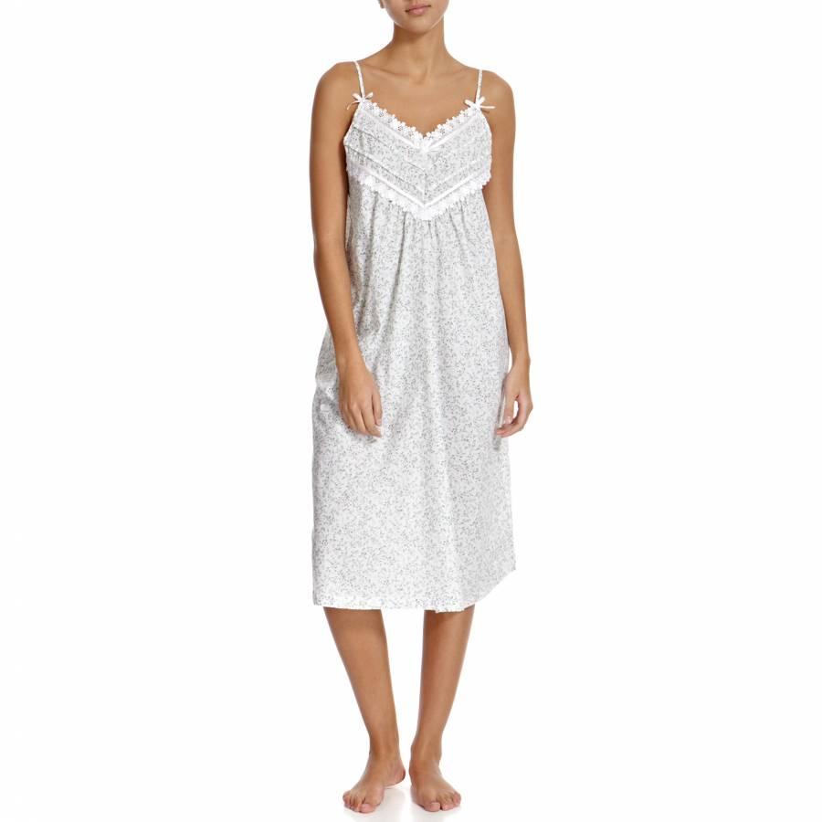 White Green Dittsy Strappy Cotton Nightdress - BrandAlley 12c075b30785