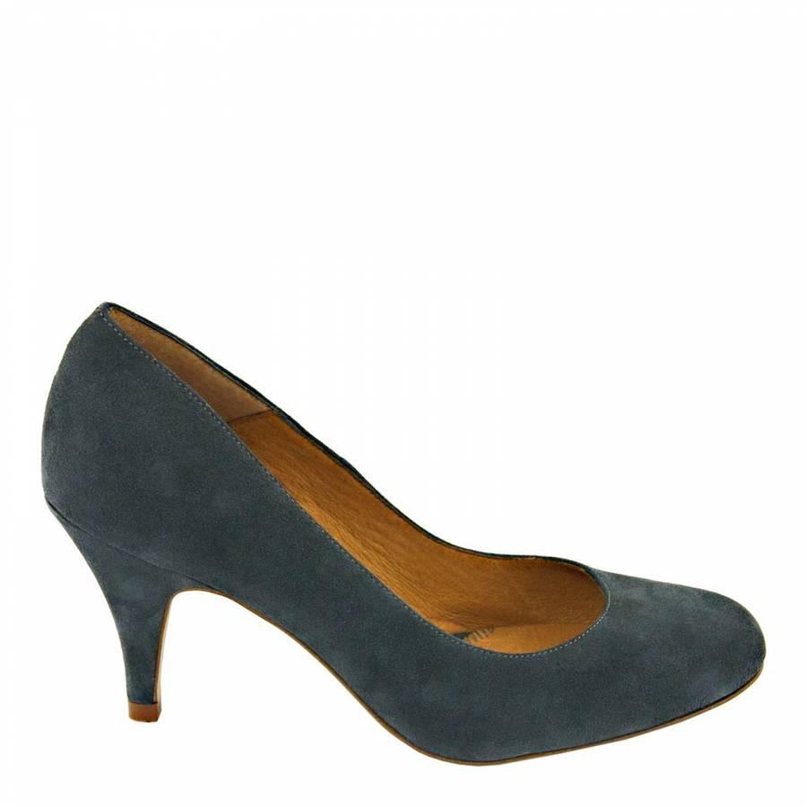 Dark Green Suede Classic Court Shoes