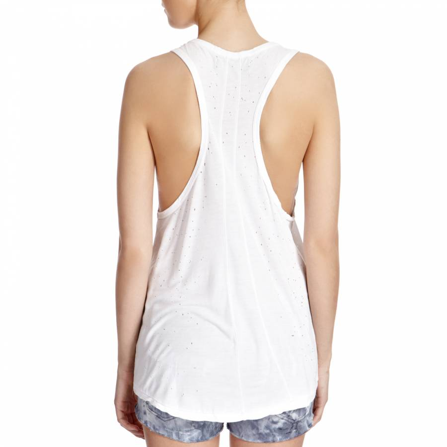 2e2c689ebd18 White Distressed Racer Back Top - BrandAlley