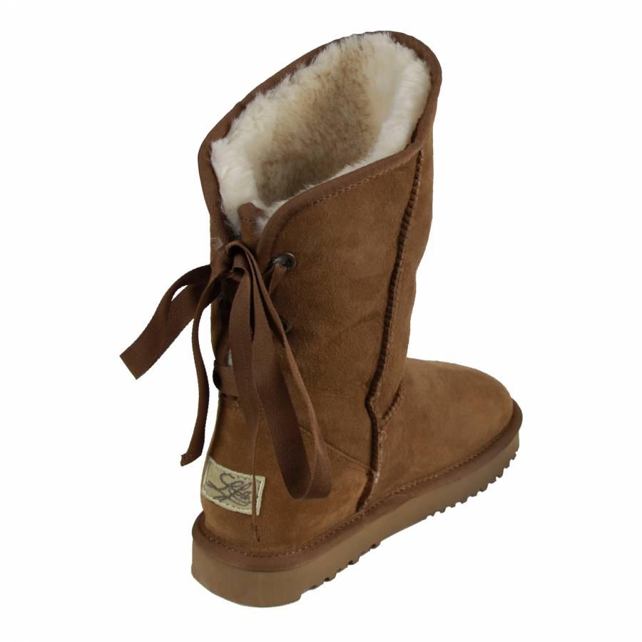 3ef38f0cc0 Caramel Sheepskin Ribbon Jezebel Boots