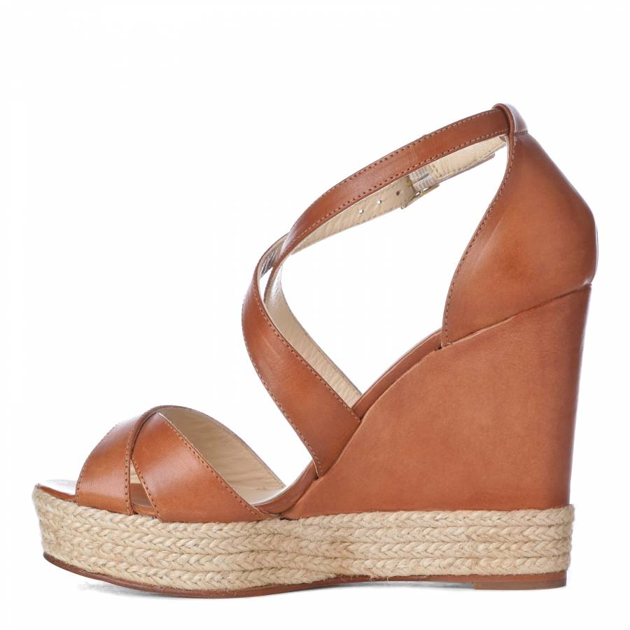 5cm 11 Wedge Brandalley Heel Corfu Sandals Leather Tan MpLqVUSzG