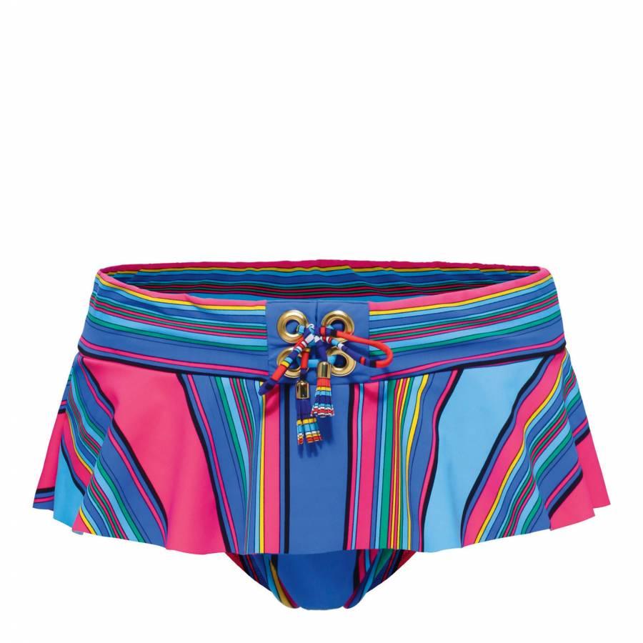484a3b508c Blue Multi Georgina Stripe Ruffle Bikini Briefs - BrandAlley