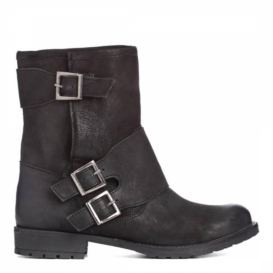 10385c95f805 Carvela Kurt Geiger Black Leather Trent Buckle Calf Boots