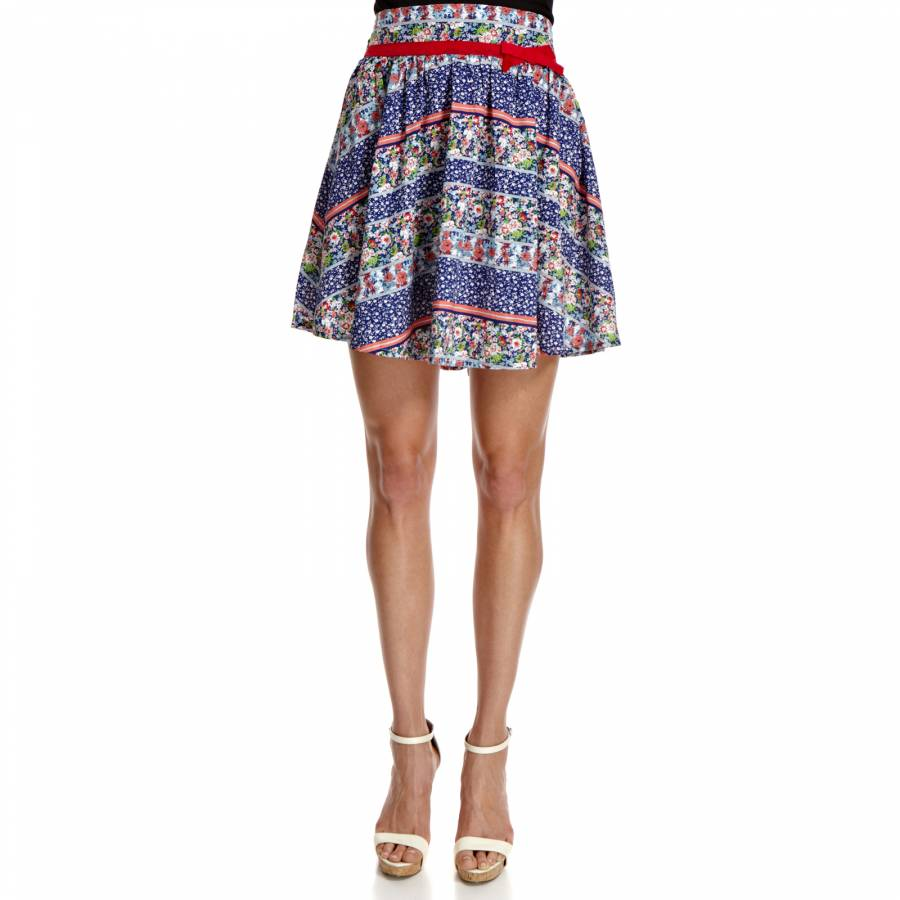 196ea1382 Friday On My Mind Blue Multi Evelyn Floral Cotton Skirt