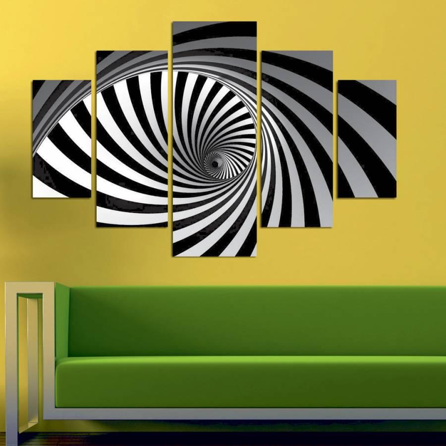Black/White Spiral Five Piece Wall Art - BrandAlley