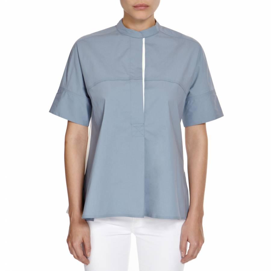 c0bc18e91f560 Light Blue Cream Caro Cotton Silk Shirt - BrandAlley