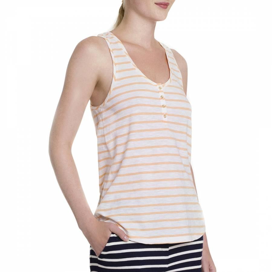 e5f9936683f256 Peach White Stripe Half Button Cotton Vest Top - BrandAlley
