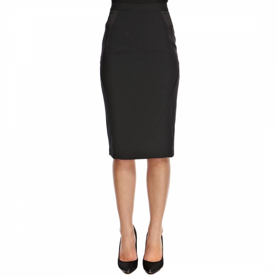 3719420e80ae Black Satin Panel Stretch Pencil Skirt - BrandAlley