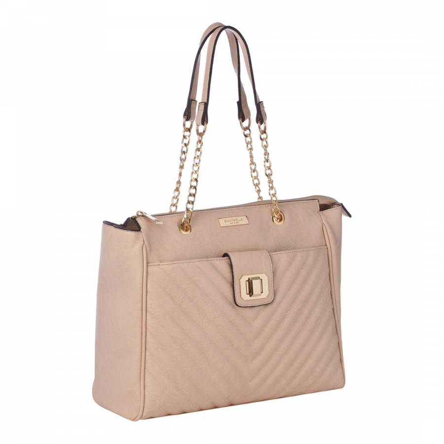 1953406e21 Nude Bonnie Quilted Chain Shoulder Bag - BrandAlley