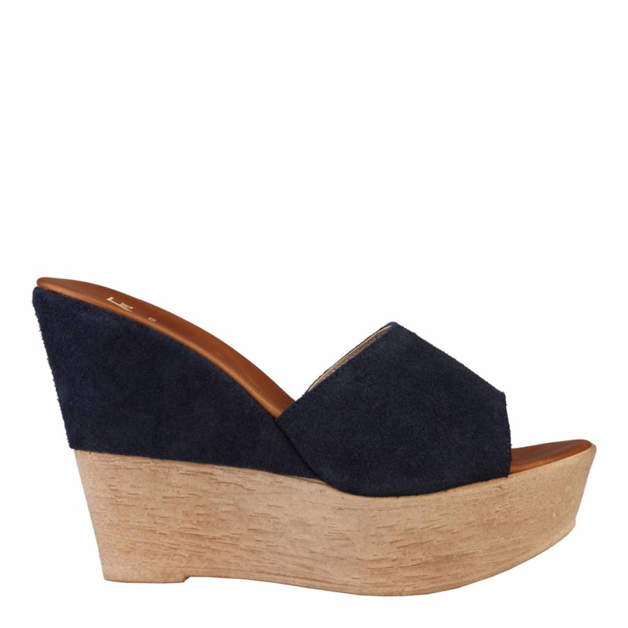 529c7ce57c9 Versace 19.69 ASMI Dark Blue Suede Wedge Mules 11cm Heel