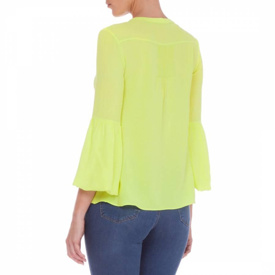 d9794ea31d1e7 Fluorescent Yellow Bell Sleeve Silk Top - BrandAlley