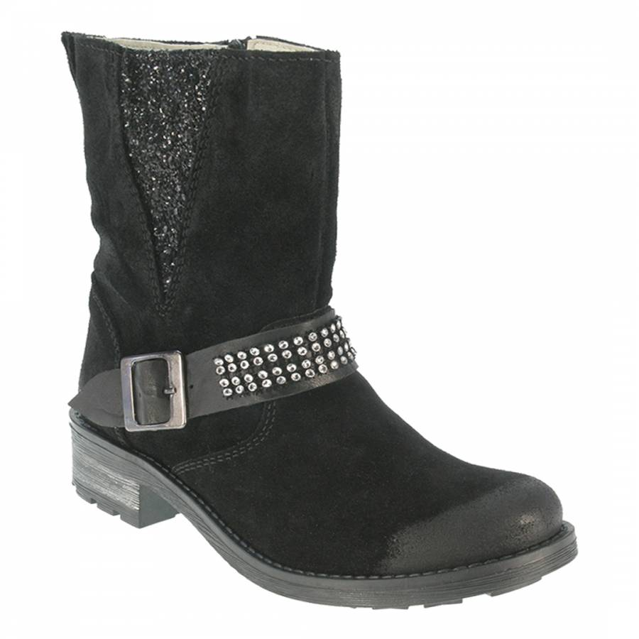 9f574f47621 Black Leather Diamante Ankle Boots
