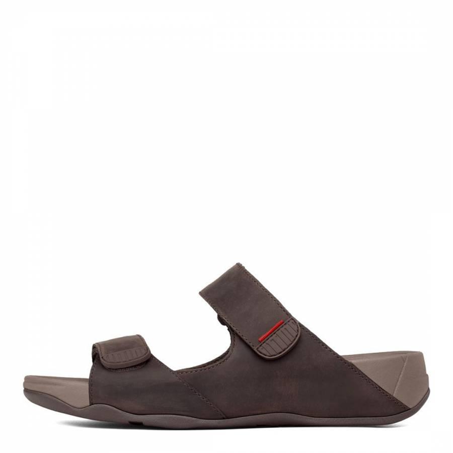 213cf4b34697 Brown Leather Gogh Slide Sandals - BrandAlley