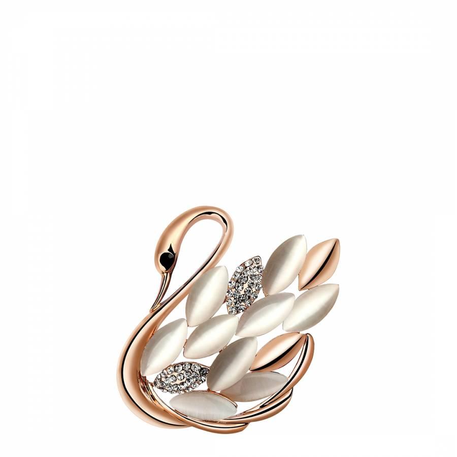 9a63e4ca991 Rose Gold Swan Brooch - BrandAlley