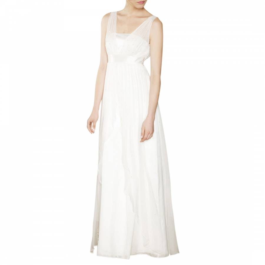 Ivory Olga Empire Line Silk Bridal Dress - BrandAlley
