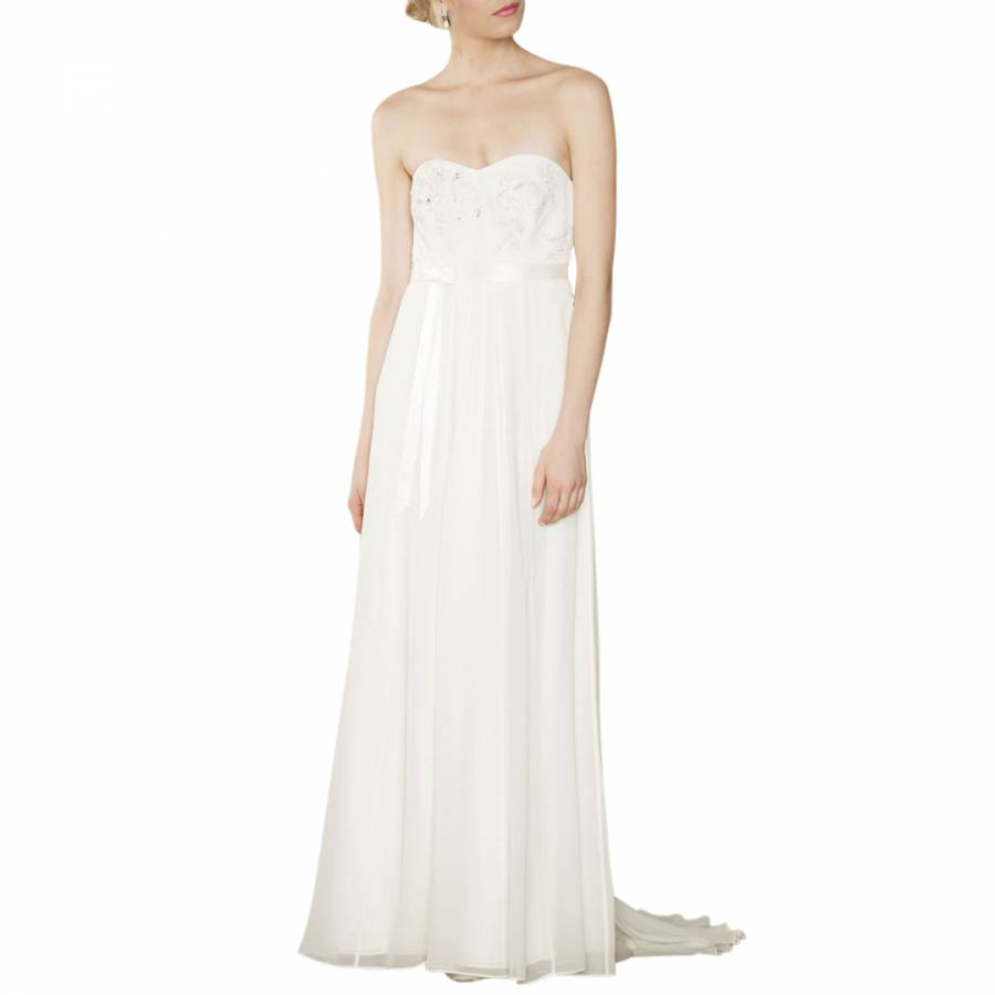 Ivory rosella georgette silk bridal dress brandalley for Silk georgette wedding dress