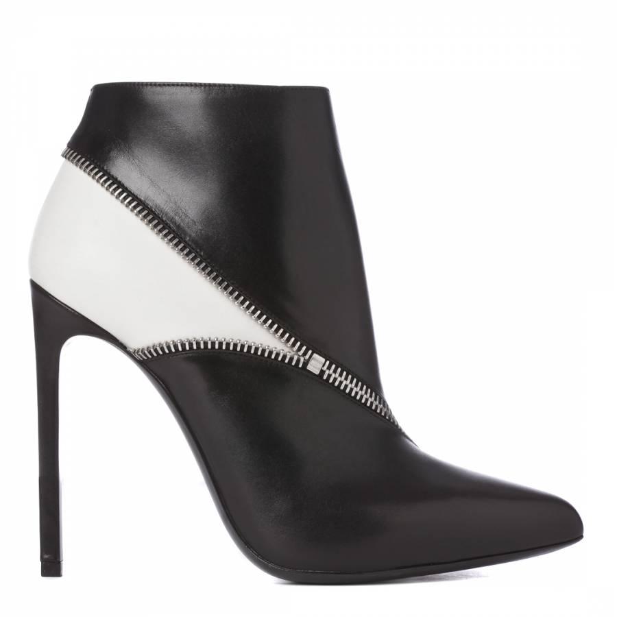 ffb258a84007 Yves Saint Laurent Black Cream Leather Zip Ankle Boots 12cm Heel