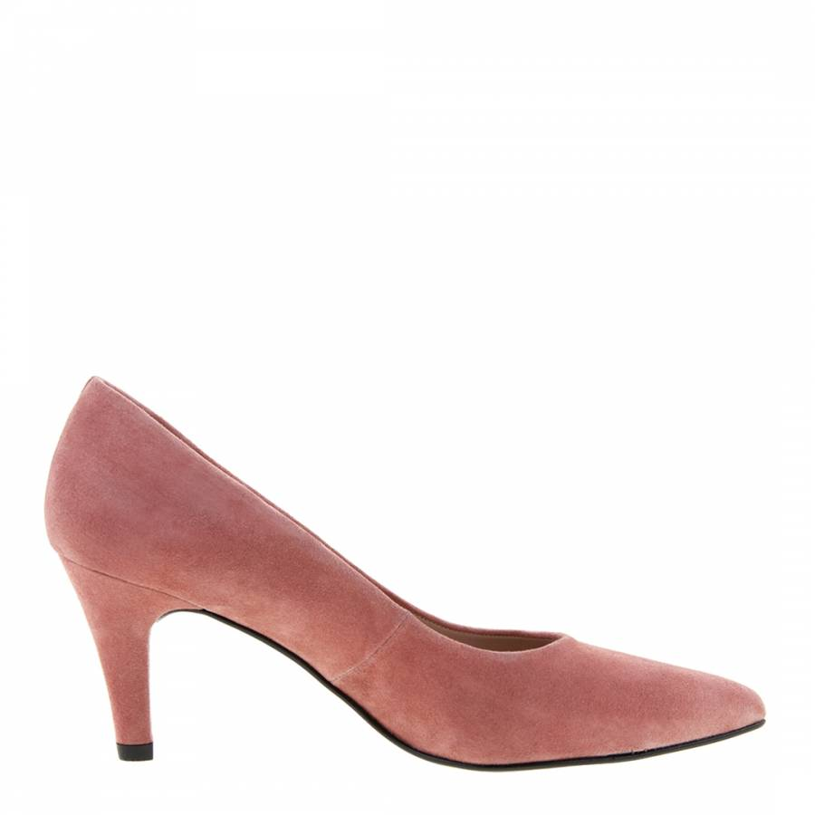 Blush Suede Court Shoes Heel 7cm