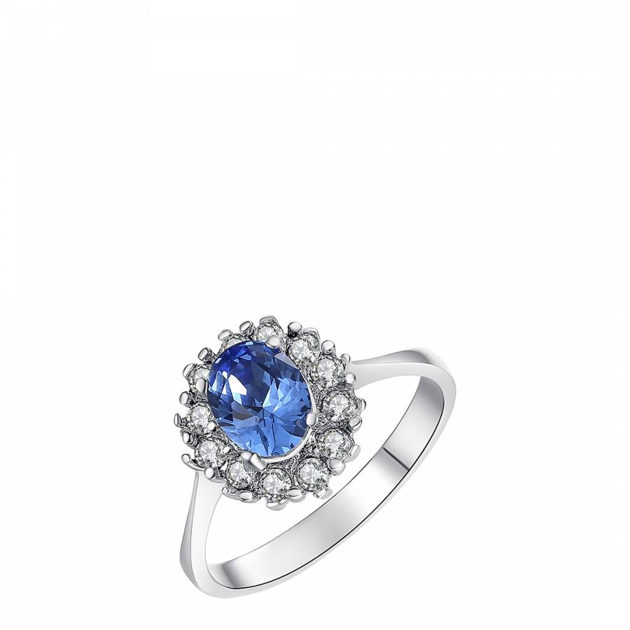 Image of Silver/Blue Swarovski Crystal Elements Ring