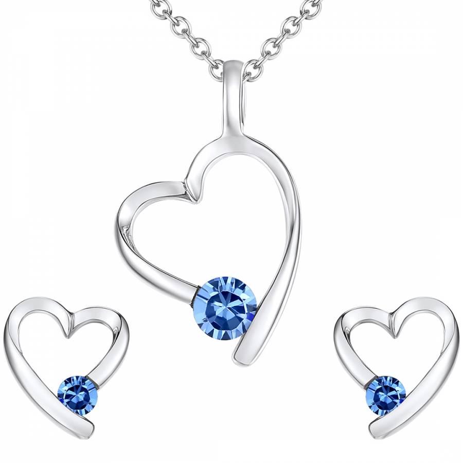 28f6bfcef Lilly & Chloe Silver/Blue Swarovski Crystal Heart Necklace/Earrings Set