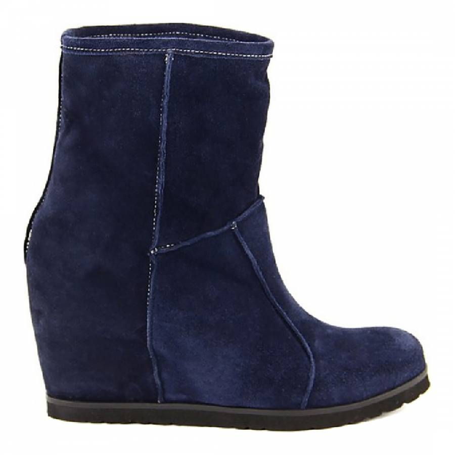 Blue Suede Wedge Ankle Boots 8cm Heel