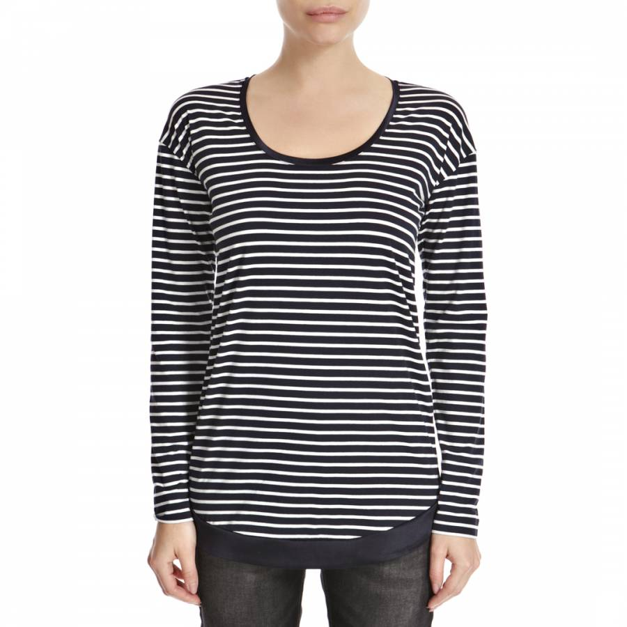 1f6cf707a7d480 Navy White Nautical Striped Cotton Blend Top - BrandAlley