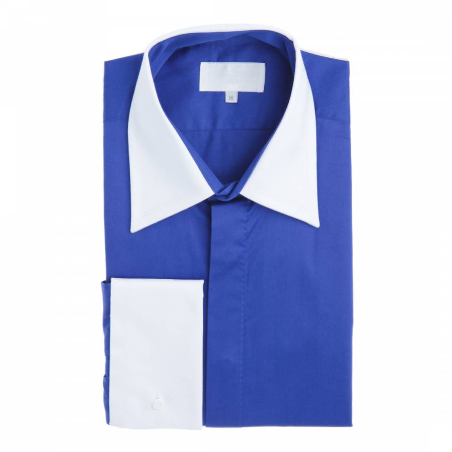 f365095a William Hunt Blue/White Contrast Double Cuff Cotton Shirt