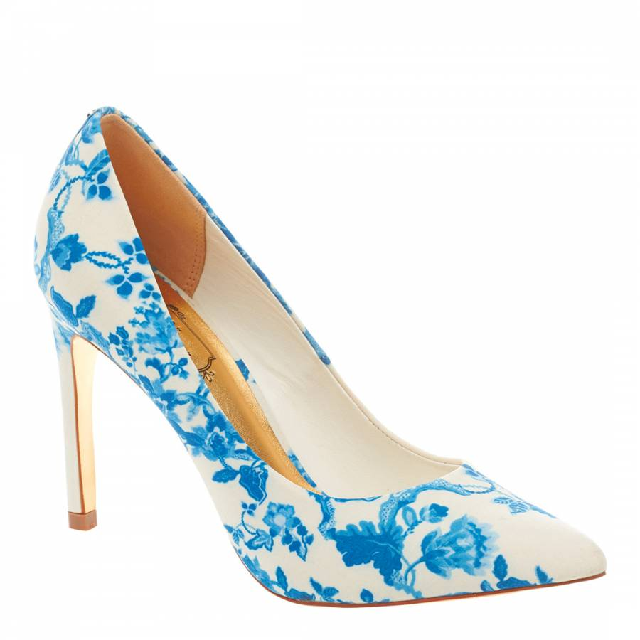 2d549c3c1 White Blue Luceey Heeled Court Shoes 10cm Heel - BrandAlley