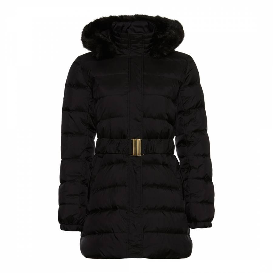 5ad5ae6080d98 Black Faux Fur Hood Puffer Coat - BrandAlley