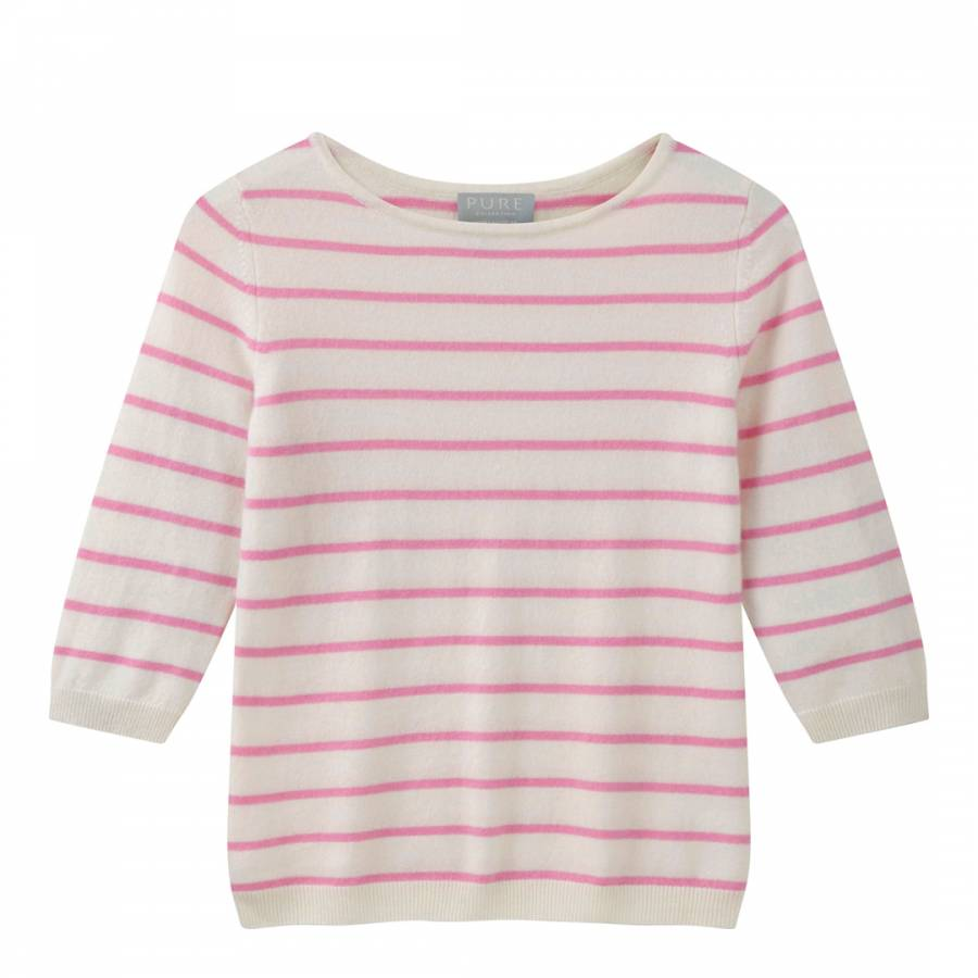 98285cb4bb4d Pure Collection Pink Cream Striped Cashmere Jumper