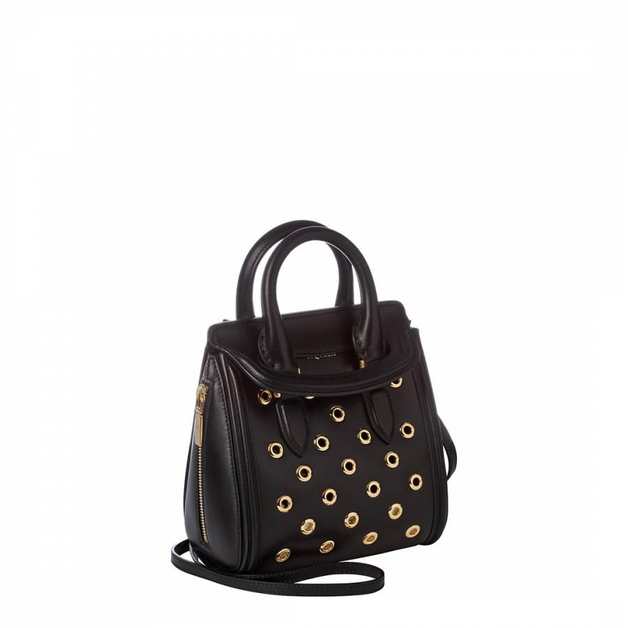 2079820d7162e Alexander McQueen Black Leather Eyelet Shoulder Bag