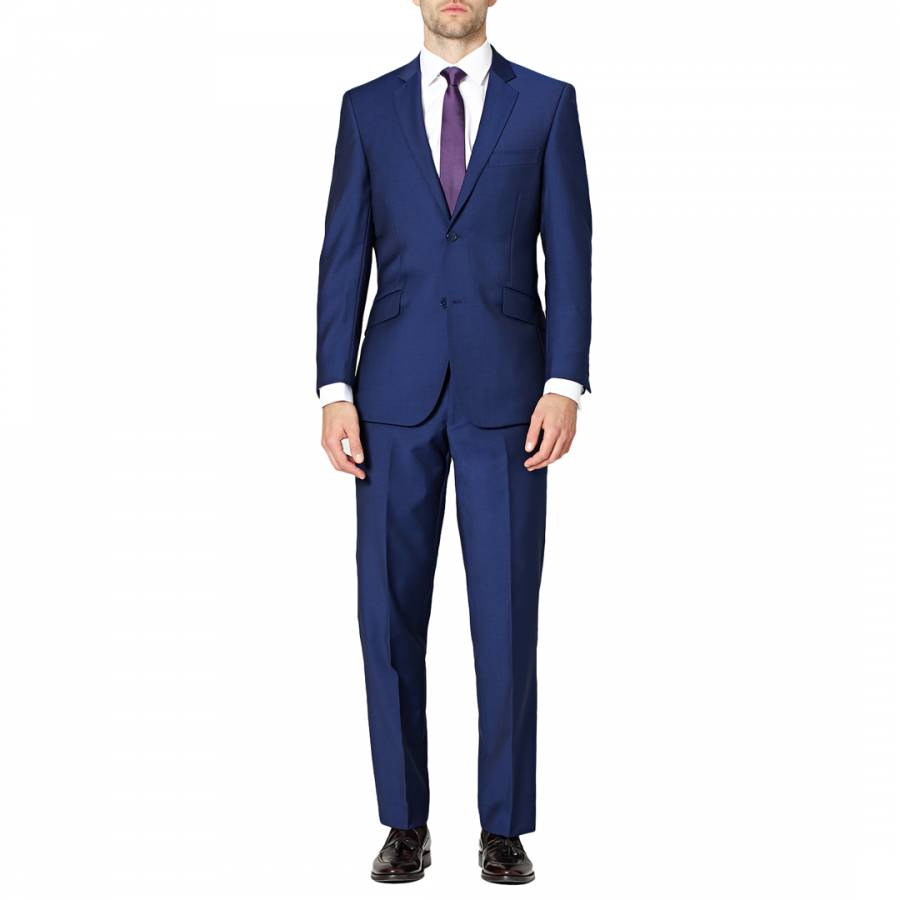 Men S Blue Contemporary Mohair Effect Wool Blend Suit Brandalley