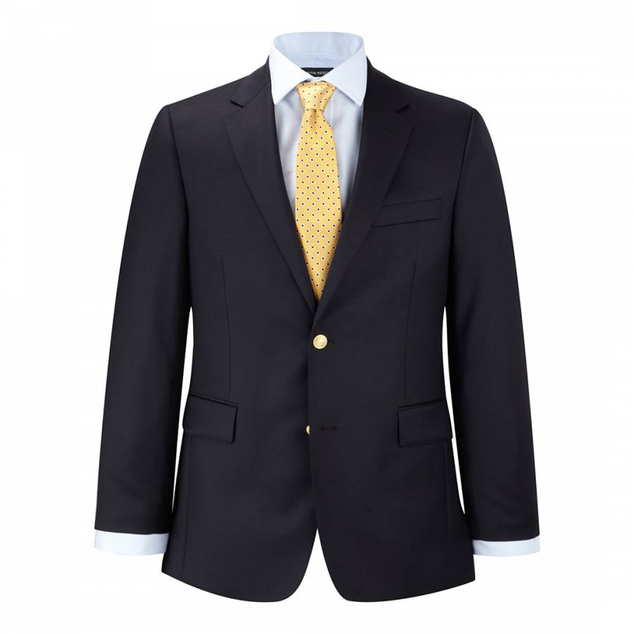 Men S Navy Gold Crest Button Wool Blazer Brandalley