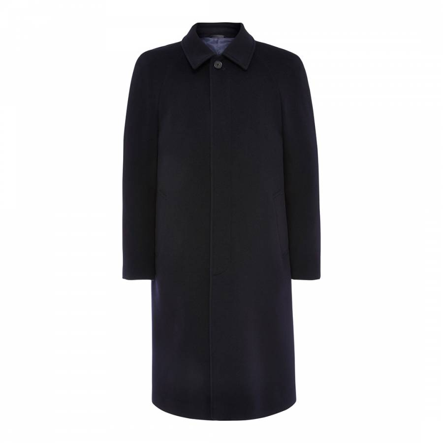 Navy Raglan Wool Cashmere Blend Coat Brandalley