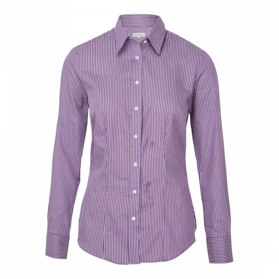 Women S Purple White Stripe Cotton Shirt Brandalley