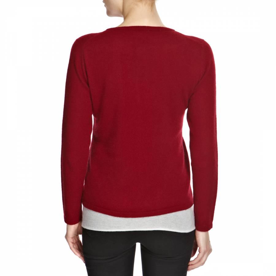 Women's Dark Red Cashmere Cardigan - BrandAlley
