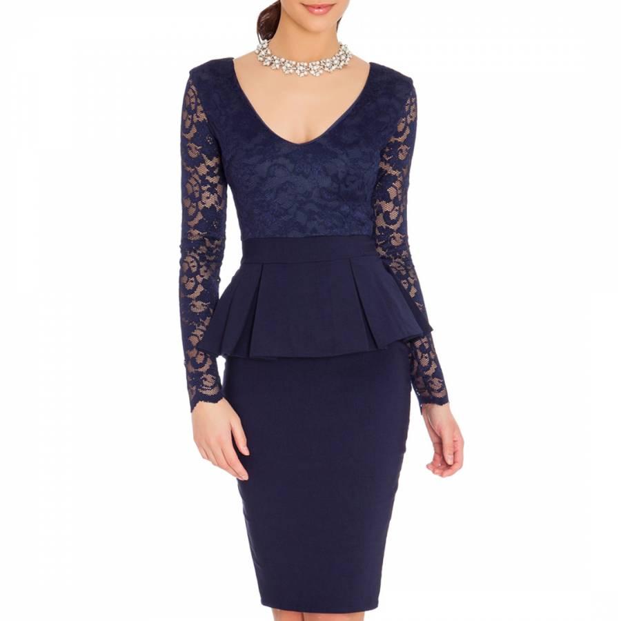 3842e015f0 Goddiva Navy Lace Peplum Dress. prev. next. Zoom