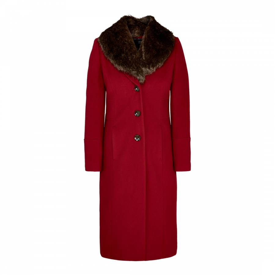 Women S Red Faux Fur Collar Wool Blend Coat Brandalley