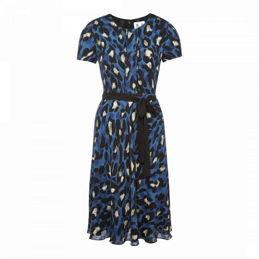 Women S Blue Black Abstract Animal Print Dress Brandalley