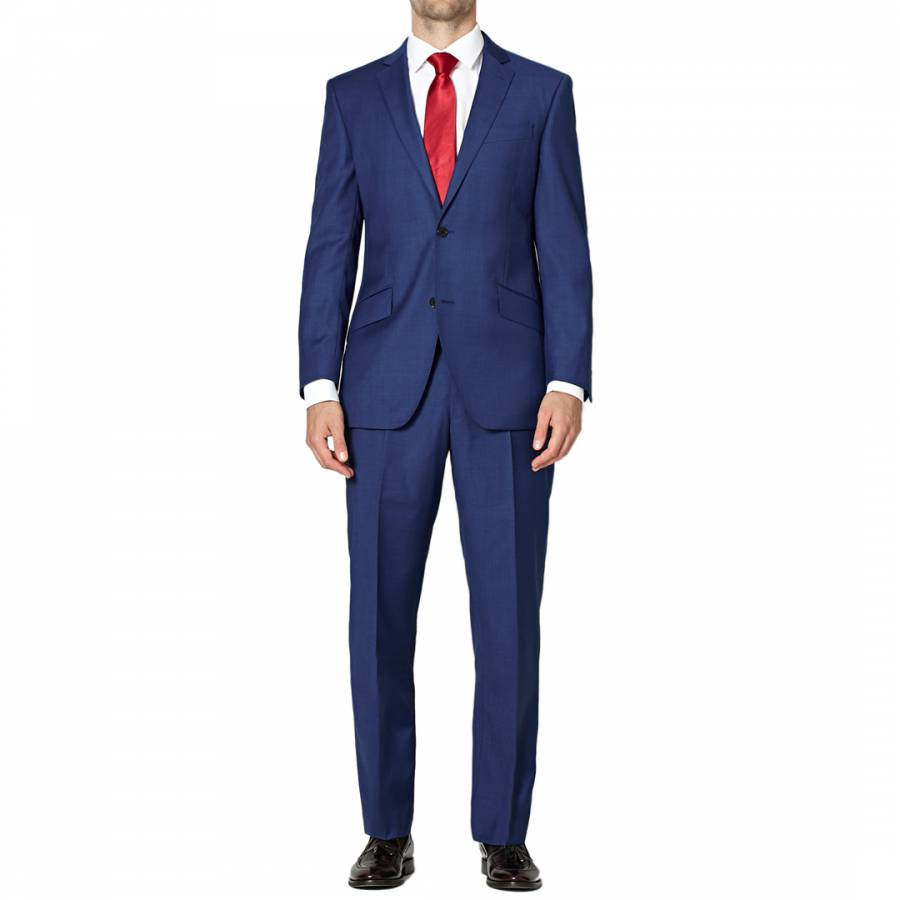 Blue Contemporary Fit Sharkskin Wool Suit Brandalley