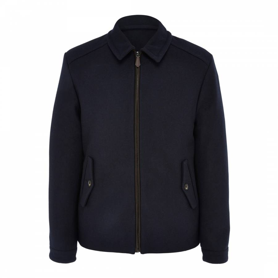 Navy Harrington Zip Wool Jacket Brandalley