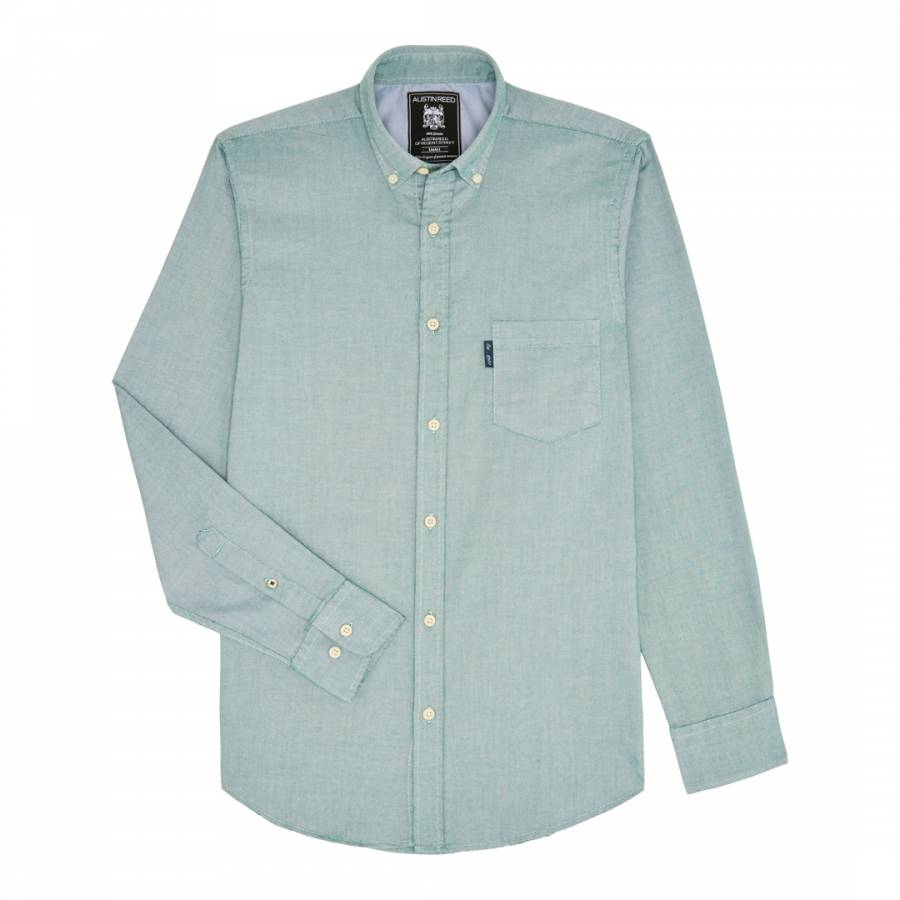 Green Long Sleeve Oxford Slim Fit Cotton Shirt Brandalley