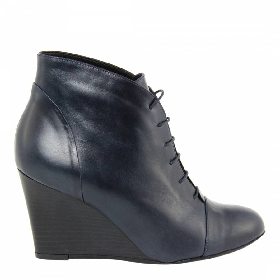 ad63ca89c59 Navy Leather Lace Up Wedge Ankle Boots 8.5cm - BrandAlley