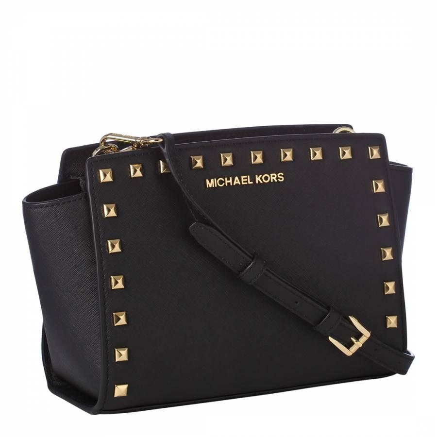 89882d8ae013 Michael Kors Black Leather Studded Selma Medium Messenger Bag