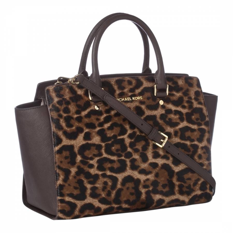 65919ae4514e Brown Black Leopard Print Handbag - BrandAlley