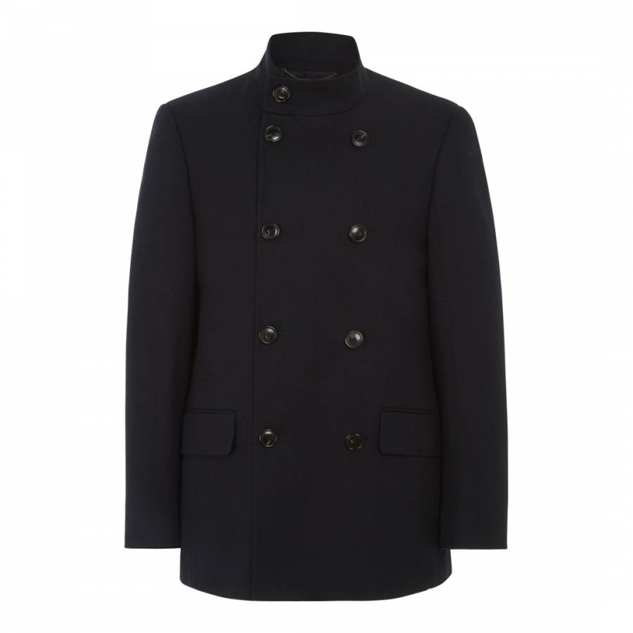 Men S Navy Herringbone Double Breasted Wool Blend Coat Brandalley