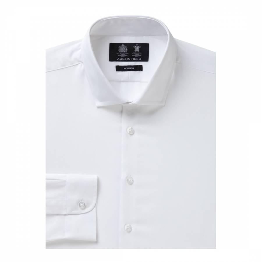 Men S White Non Iron Extra Slim Twill Cotton Shirt Brandalley