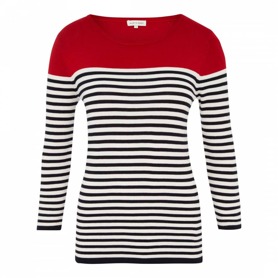 Women S Red Black Stripe Colour Block Jumper Brandalley